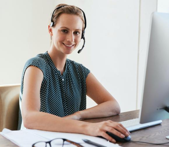 Woman with headset